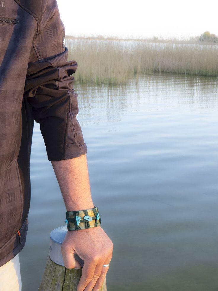 Leder, Kingman turquoise, Sari zijde, Patina en Paracord Heren Armband 'Jan' via Birdie Accessoires