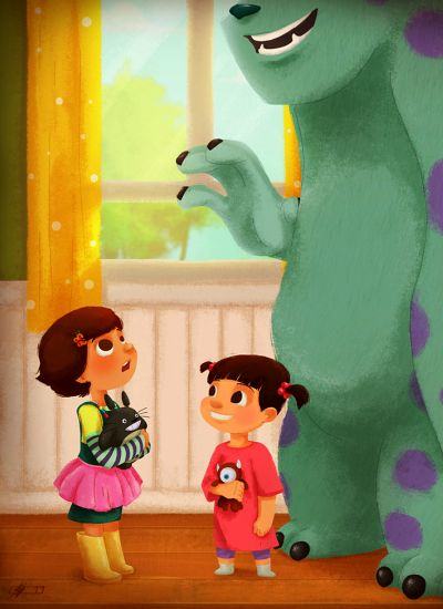 Sully & Boo from Monsters, Inc. meet Bonnie from Toy Story 3.  So cute - I would love to create pics like this!
