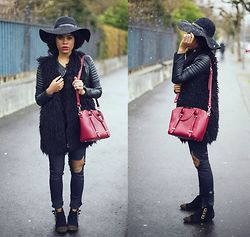 Wallace Yolicia - Maison Michel Wide Brimmed Capeline Trilby Hat, Dsquared2 Similar Mini Quebec Bag, French Connection Uk Fallon Faux Fur Gilet, Jane Norman Pu Sexy Biker Jacket, Ash Footwear Judy Studded Suede Boots, Malibu Fox Destroyed Bf Jeans - DARK WEATHER, BLACK RAIN