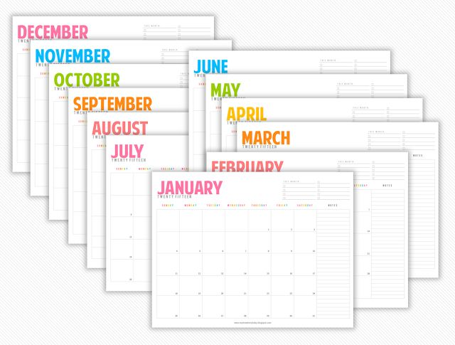 2015 free Monthly calendars