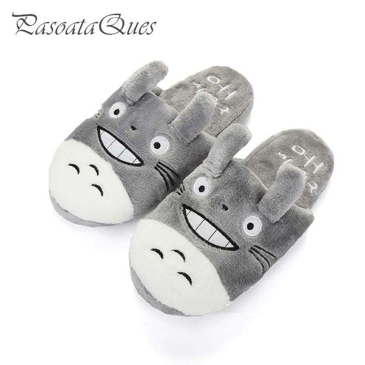 Totoro cute cat cartoon animal donne/uomini coppie casa pantofola per la casa dell'interno camera da letto confortevoli appartamenti caldi scarpe invernali