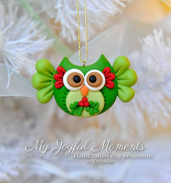 Handcrafted Polymer Clay Christmas Owl Ornament