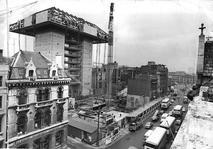 Dame Street, during the building of the Central Bank.