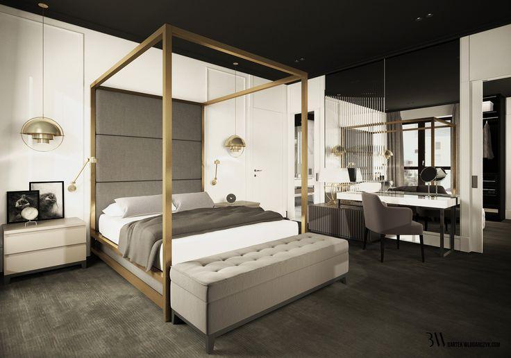 Sypialnia z łóżkiem Montrose firmy Restoration Hardware, w tle toaletka przed ścianą zabudowaną lustrem. http://bartekwlodarczyk.com/