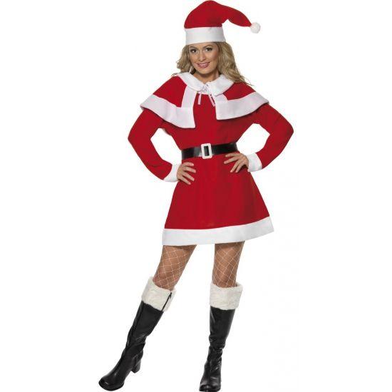 Dames kerstkleding jurkje  Kerstjurkje voor dames in het rood. Dames kerst jurkje bestaande uit een jurkje kerst cape zwarte riem en kerstmuts.  EUR 23.95  Meer informatie
