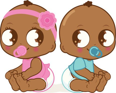 Adorable petite fille afro-américaine et garçon - Illustration vectorielle
