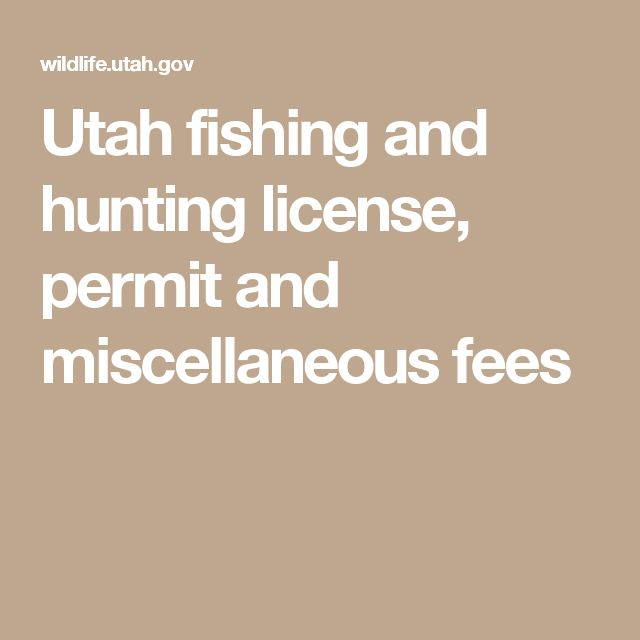 Utah fishing and hunting license, permit and miscellaneous fees