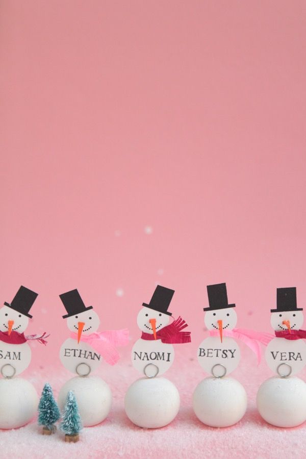 Snowman Place Cards DIY   Oh Happy Day!