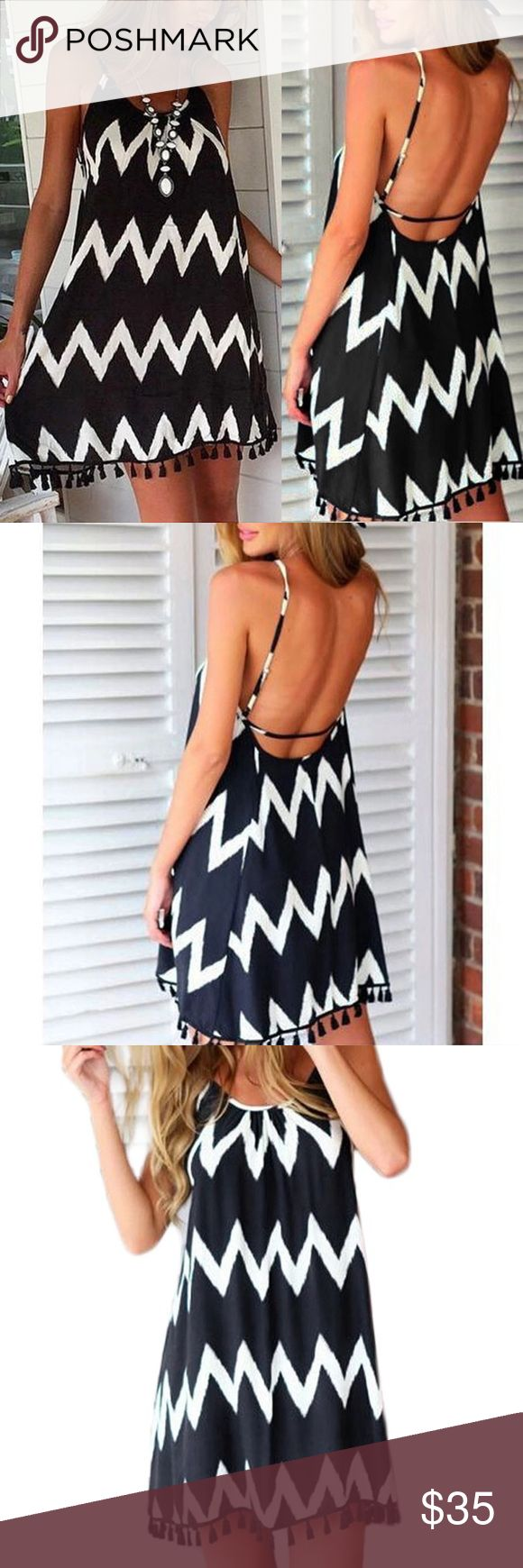 💙PREORDER💙 Black & white beach dress Casual and cute black and white geometric beach dress, loose fit for comfortable wearing.  ❗️PREORDER- if you don't want to preorder but would like to be notified of arrival, COMMENT below❗️  Material: Linen  Sizes available: SMALL, MEDIUM (see last image for sizing guide) *1cm = 0.39inches Dresses Backless