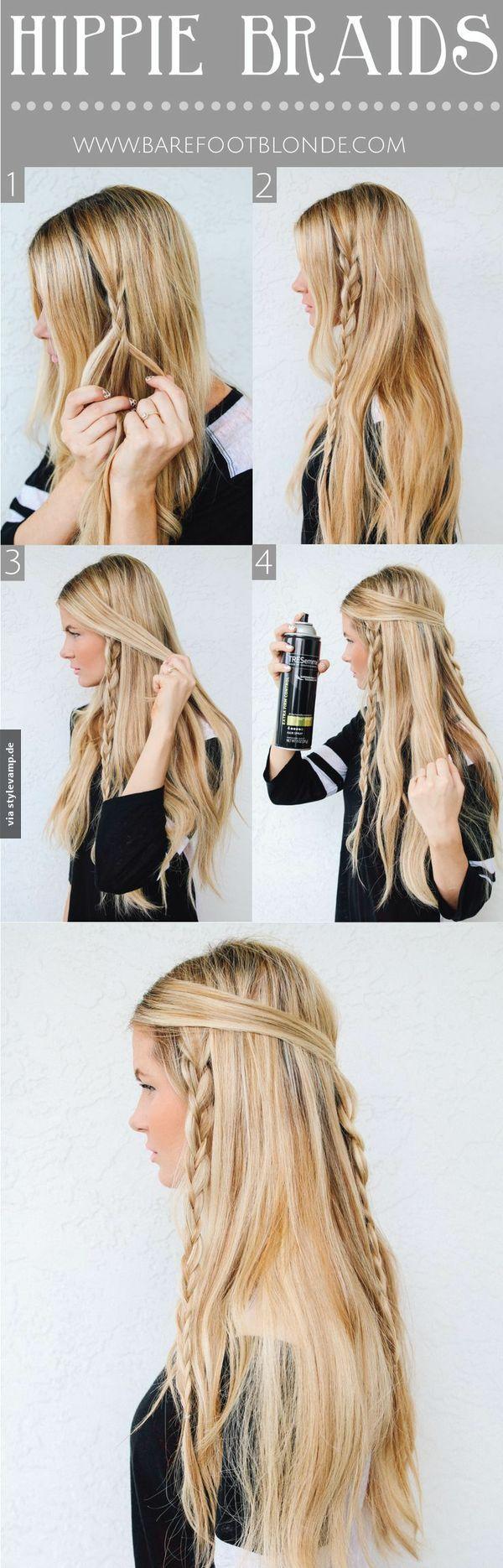 Der Hippie Zopf  Einfach seitlich einen lockeren Zopf flechten. Danach die vorderen Haarpartien darüber legen und hinten zum Zopf zusammen flechten.