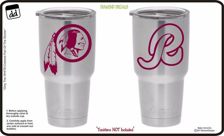 Washington Redskins (Set of 2) Vinyl Decals for Yeti Tumbler NFL Gear Stickers #DiamondDecals