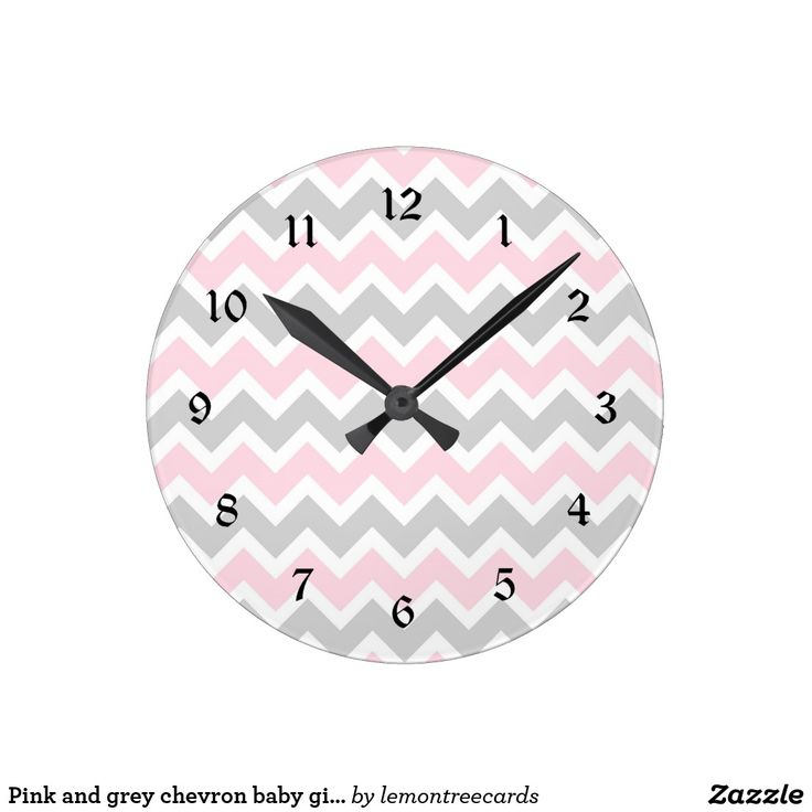 Pink and grey chevron baby girl nursery clock This modern pink and grey clock is available in square or round. Numbers can be removed. Need a specific color for your decor? Just ask the designer! Feel free to contact us anytime with questions.