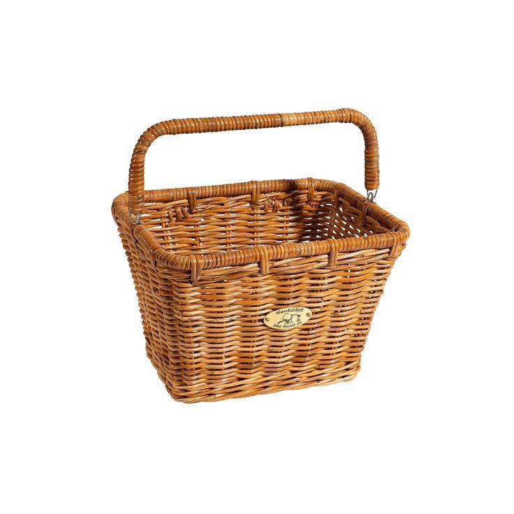 Nantucket Bicycle Basket Co. Dutch Cisco Rectangle Bicycle Basket with Hooks and Handle