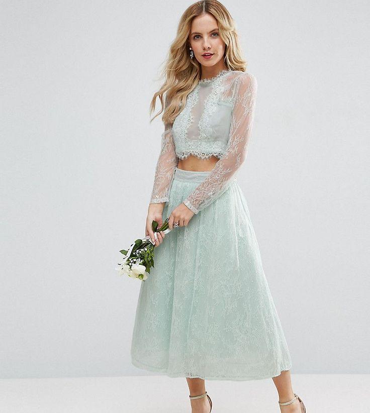 ASOS PETITE Bridesmaid Lace Prom Skirt - Green