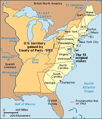 The Treaty of Paris 1783 officially ended the Revolutionary War. There were six parts: 1) America was independent; 2) Its boundaries were the Mississippi River on the west, Canada on the north, and Spanish Florida on the south; 3) The U.S. was allowed to fish off the Canadian coast; 4) Britain and the U.S. would pay off any debts they owed each other; 5) Britain would return any enslaved persons; 6) Congress recommended that the states return any property they had taken from the Loyalists.