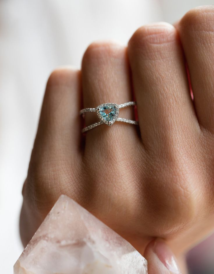 14kt gold and diamond Double Band Aquamarine Trillion ring – Luna Skye by Samantha Conn