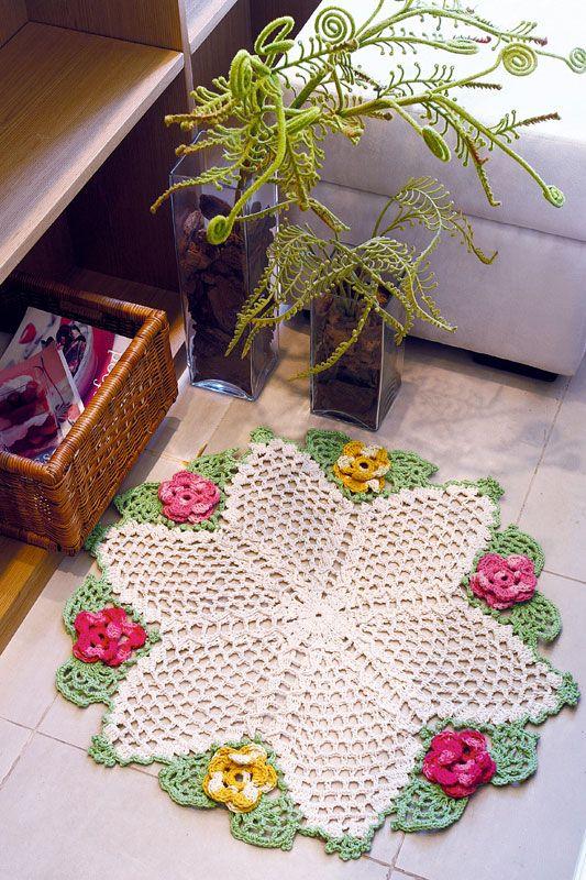 Tapete de barbante com flores na borda - Portal de Artesanato - O melhor site de artesanato com passo a passo gratuito