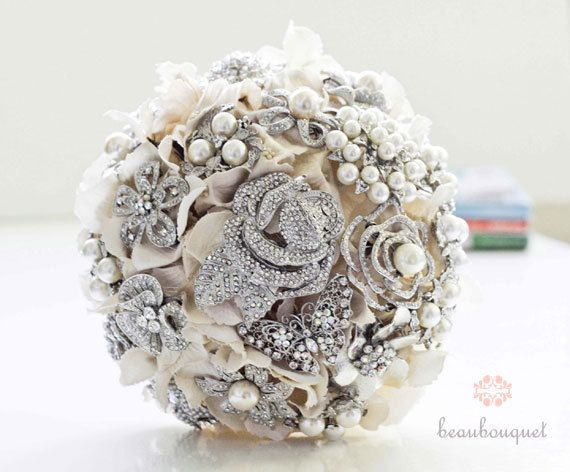 Brooch Bouquet Rhinestone and Pearl Brooch Custom by beaubouquet