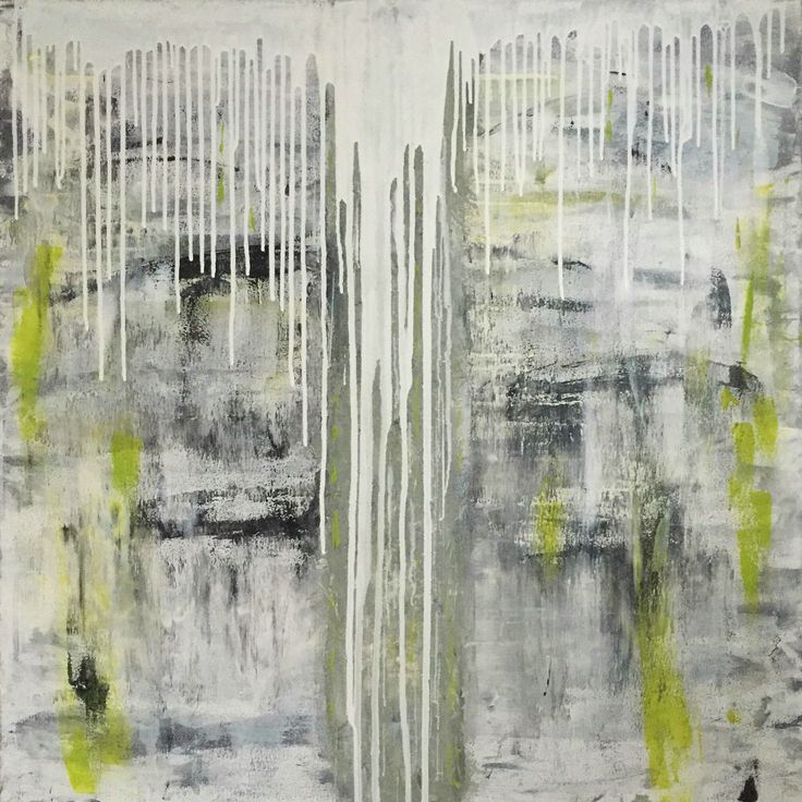Frozen Lime - Painting by Aneta Szczepanska Art, Acrylic on canvas 100x100cm  Grey, black, white & zesty Lime ❤️