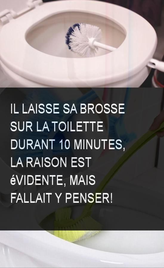 Il laisse sa brosse sur la toilette durant 10 minutes, la raison est évidente, mais fallait y penser!