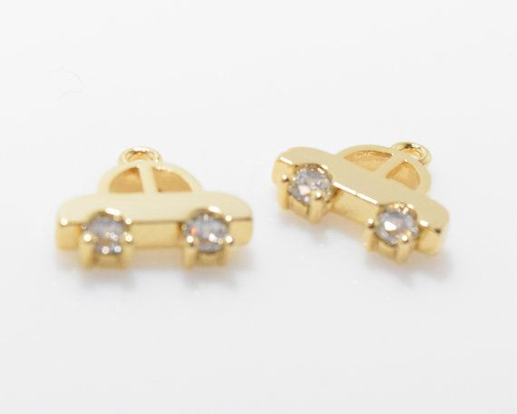 Cute Car Cubic Pendant, Jewelry Supplies, Jewelry Making, Polished Gold - 2pcs / UT0022-PG