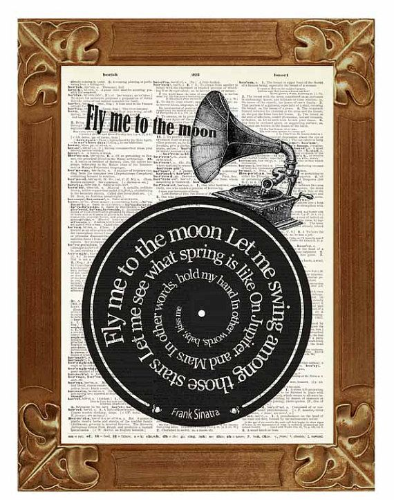 Frank Sinatra Fly Me To The Moon song lyric upcycled dictionary page book art print