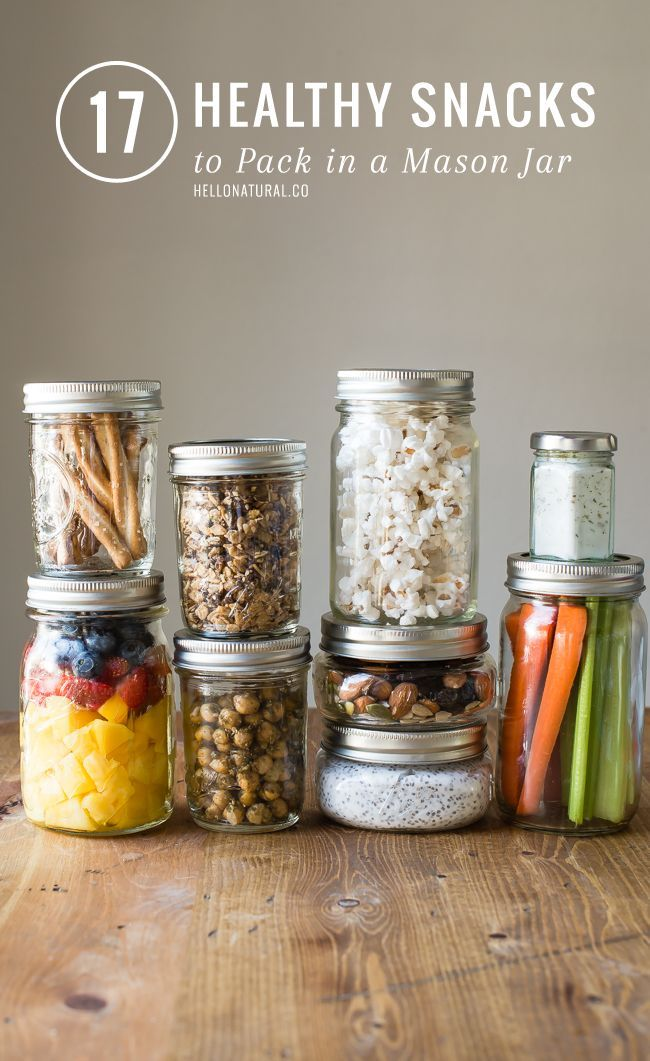 17 Healthy Snacks to Pack in Mason Jars   http://hellonatural.co/17-healthy-snacks-to-pack-in-a-mason-jar/