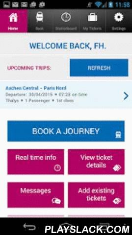 SNCB Europe  Android App - playslack.com ,  Book your Thalys, Eurostar, TGV, ICE and IC train tickets on your smartphone.Book your international train tickets to thousands of European destinations such as London, Paris, Amsterdam and Cologne easily via the SNCB app. You can now travel with your mobile train tickets on your smartphone.BOOK YOUR INTERNATIONAL TICKETS- Book tickets for Thalys, Eurostar, TGV, ICE and IC trains- With your mobile train ticket, you can travel to thousands of…