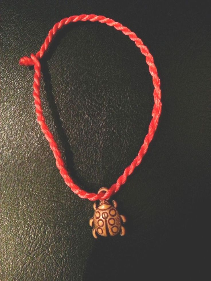 2 RED KABBALAH STRING BRACELET WITH BEETLE BUG, EVIL EYE LUCKY JEWELRY