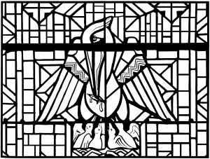 Display image coloring-adult-stained-glass-pelican-church-arthon-en-retz-france-20th-complex-version