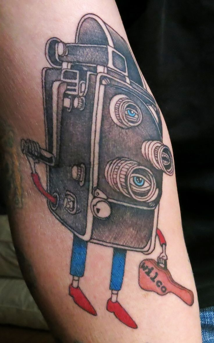 Tool box tattoo by mark old school tattoos by mark pinterest - New Tattoo My First Film Camera Was A Bolex Found An Amazing Wilco Poster