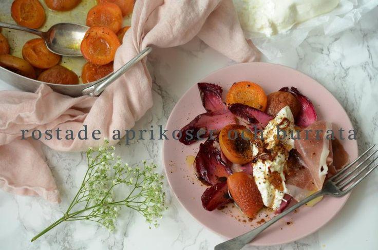Sista chansen för aprikoser och persikor – testa mitt recept på sallad med rostade aprikoser och burrata