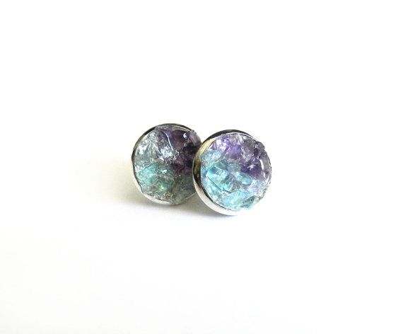 Raw Crystal Stud Earrings Blue Apae Purple Amethyst Crushed Mineral Rock Stone Studs Aqua Turquoise Silver Fall Fashion