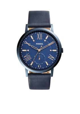 Fossil Blue Womens Gold-Tone Gazer Multifunction Blue Leather Watch