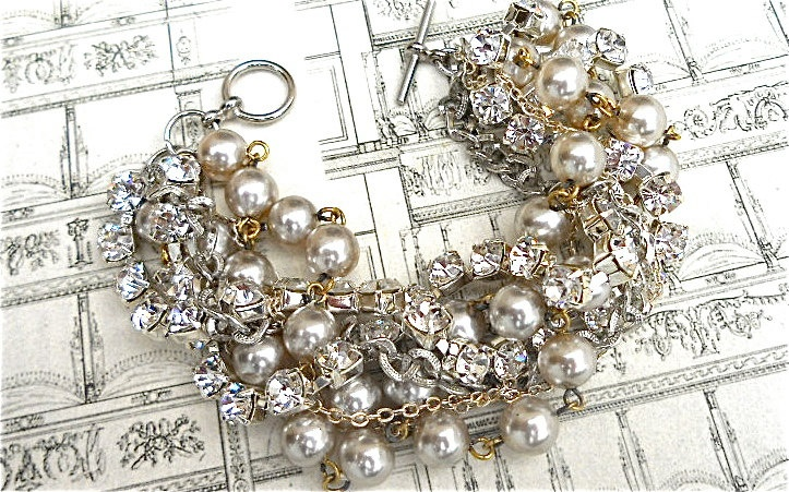 Bridesmaid Bracelet Pearl Rhinestone Multi Chain Chunky Bridal Statement Cuff Silver Chains - Life of the Party in Silver Twisted Bracelet. $58.00, via Etsy.: Cuffs Silver, Pearls Rhinestones, Chains Chunky, Rhinestones Multi, Bridal Statement, Multi Chains, Chunky Bridal, Bridesmaid Bracelets, Bracelets Pearls