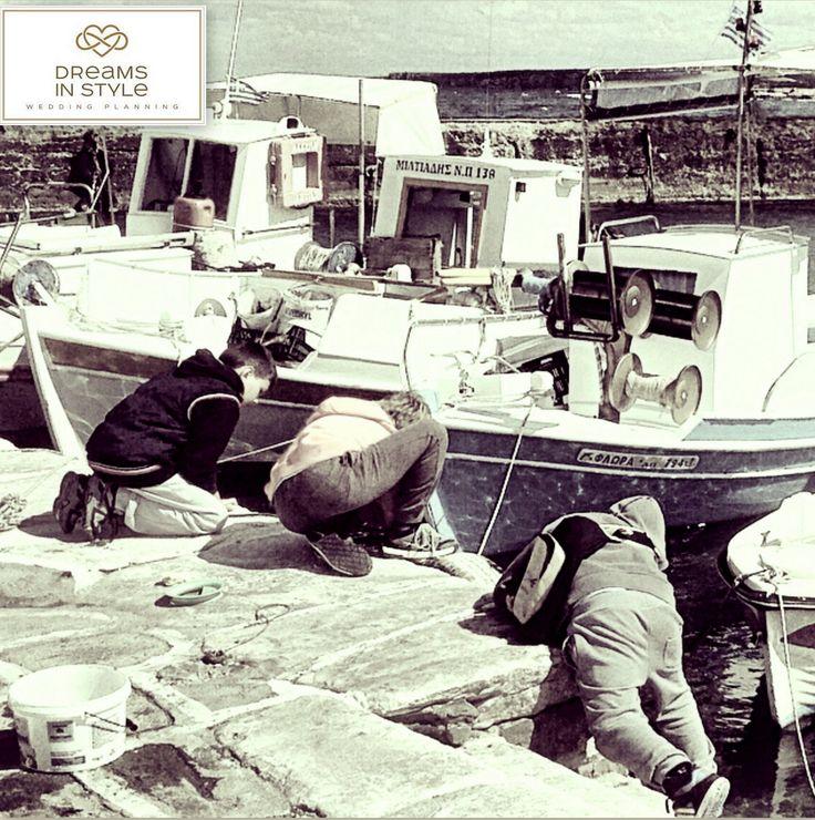 Little fishermen in Naousa, Paros. #fishermen #kids #fishing #greece #naousa #paros #dreamsinstyle