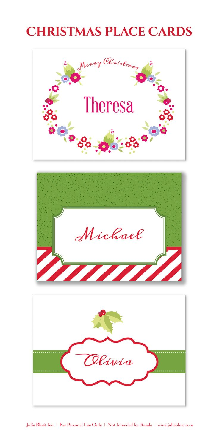 Free printable place cards for christmas christmas for Amscan templates place cards