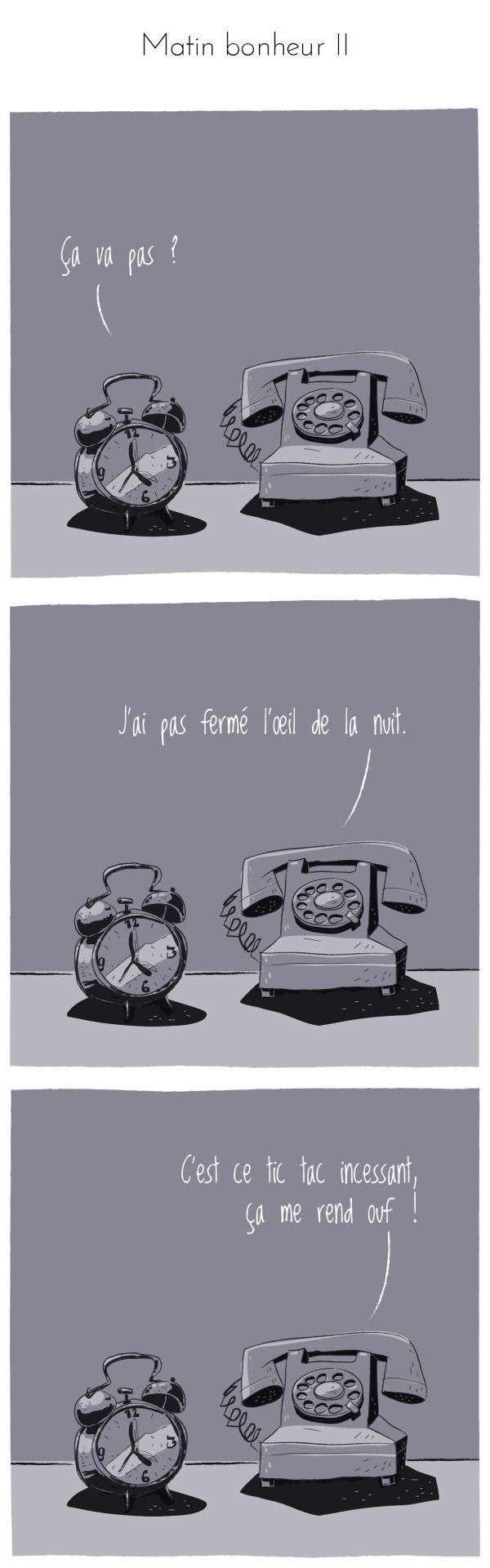Texte : keses Dessin : zed ©compliment d'objet #complimentdobjet #réveil #téléphone