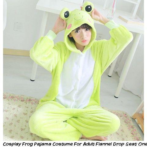 b272c70d8387 Cosplay frog pajama costume for adult flannel drop seat onesie pajamas