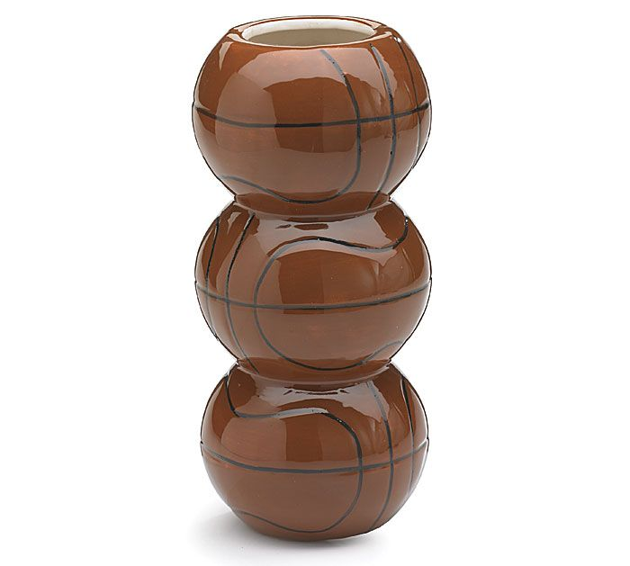 "#burtonandburton Stacked basketball shaped hand painted ceramic vase.<br><br>7 1/2""H X 2""Opening.<br>Set of 4."