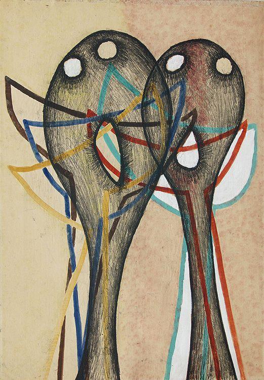 """Jarema Maria  . KOMPOZYCJA Z CYKLU """"GŁOWY"""", 1955 monotypia barwna, papier, 61 x 42.7"""
