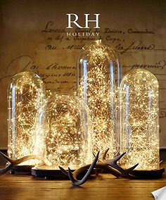 Another beautiful solution when searching for quick, inexpensive lighting solutions. Grab battery operated holiday light strings as they go on sale. You'll use them all year long.
