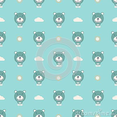 Bear with clouds and sun vector pattern