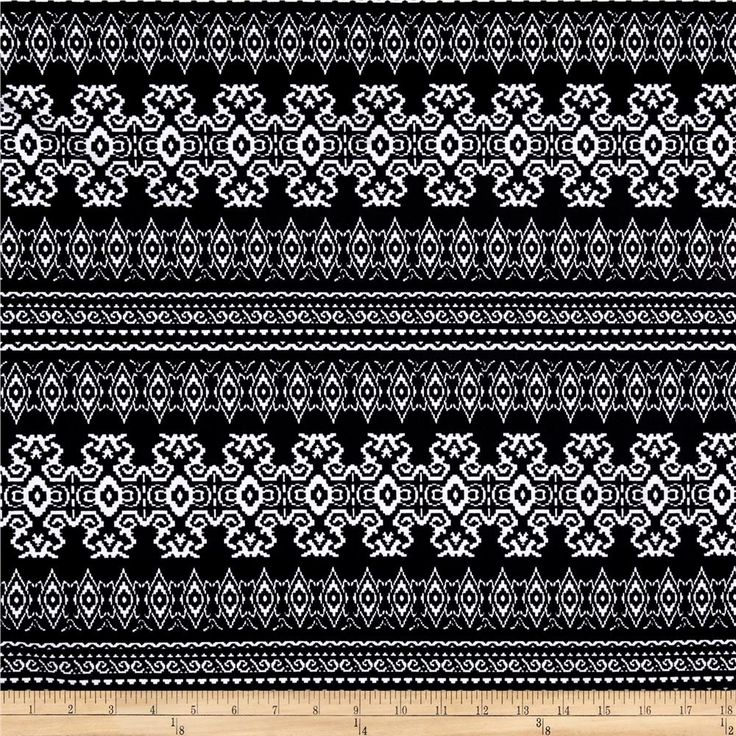 Ponte de Roma Aztec Black from @fabricdotcom  This beautiful printed ponte de roma double knit fabric has a soft hand, full bodied drape and 30% stretch across the grain. This knit is perfect for creating skirts, dresses, form fitting apparel, T shirts, jackets, tops and more! Colors include black and white.