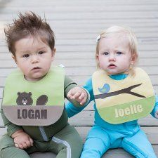 beaver and bird bibs. how stinkin cute!