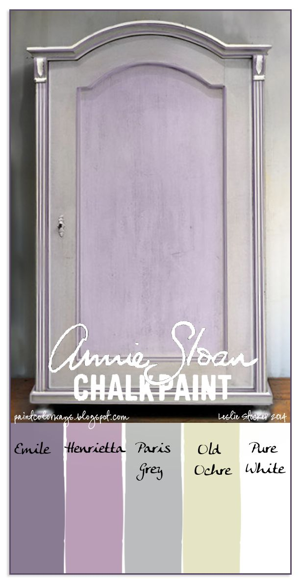 COLORWAYS  A sweet armoire painted with Annie Sloan Chalk Paint. Custom Color Lavender from Emile and Henrietta. Paris Grey, Old Ochre, Pure White