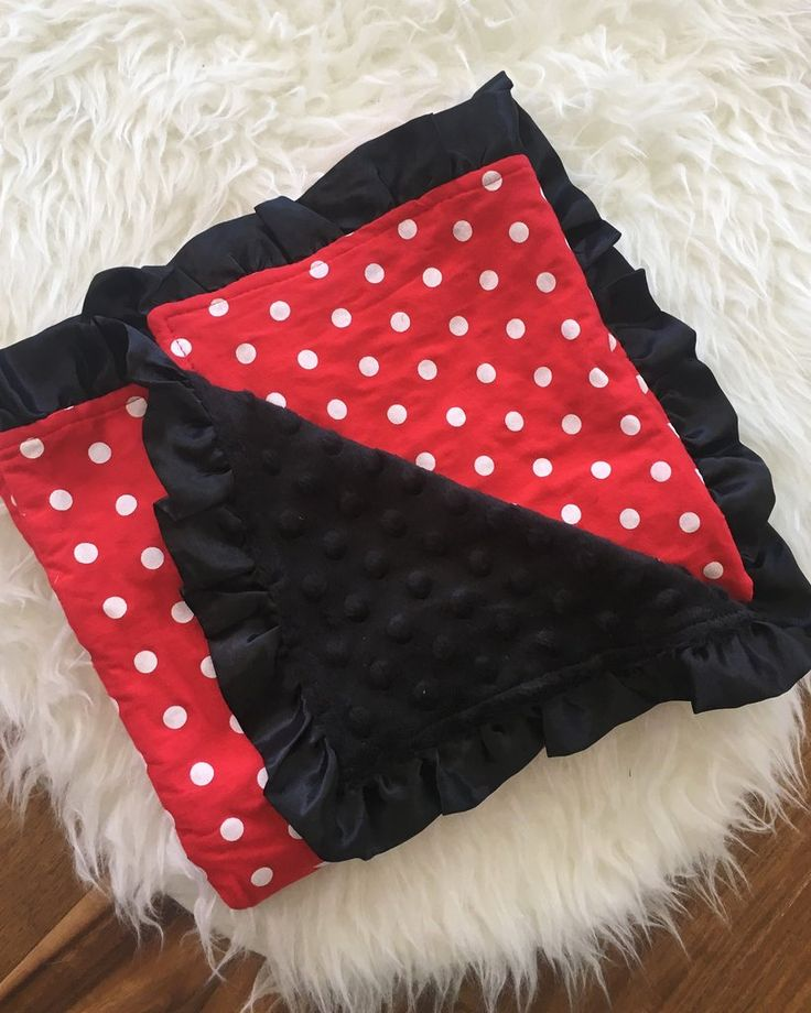 Red White Polka Dot with Black Minky Blanket #clearance #daily-deal #daily-deals