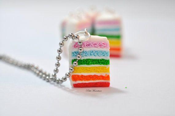 Collana torta arcobaleno-Cibo Gioielli-Fetta di Torta-Fimo