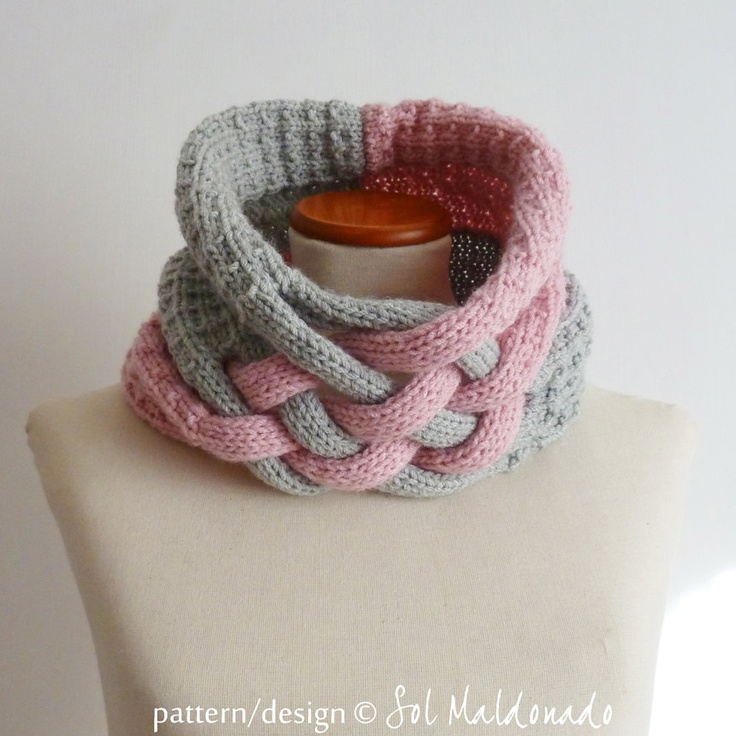 Cables Knitting Patterns : knit pattern Cowl neckwarmer Weave pdf - winter trendy cool UNISEX ac?