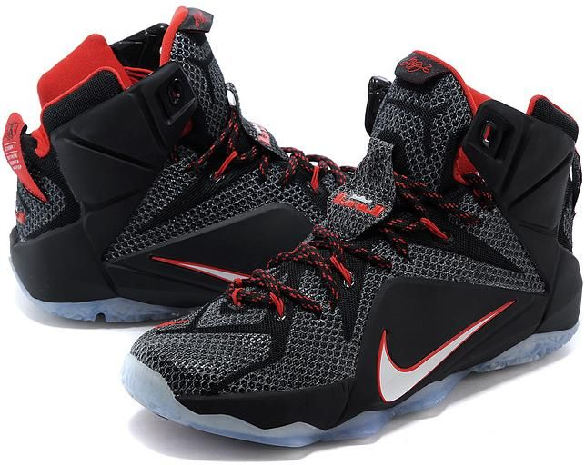 Nike Lebron 12 Black White Red Online SALE0